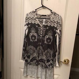 Grey scarf print dress